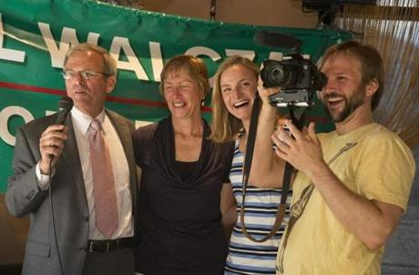 Bill Walczak, his wife, Linda, their daughter Elizabeth, and son Matt kicked off his campaign at a restaurant in June.